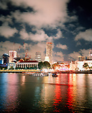 SINGAPORE, Asia, reflection of light on Singapore river at night