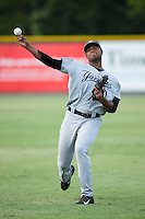 Pulaski Yankees starting pitcher Jhon Morban (56) warms up in the outfield prior to the game against the Burlington Royals at Burlington Athletic Park on August 6, 2015 in Burlington, North Carolina.  The Royals defeated the Yankees 1-0. (Brian Westerholt/Four Seam Images)