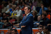VALENCIA, SPAIN - NOVEMBER 3: Carlo Recalcati during EUROCUP match between Valencia Basket Club and CAI Zaragozaat Fonteta Stadium on November 3, 2015 in Valencia, Spain
