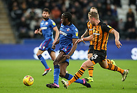 Bolton Wanderers' Clayton Donaldson breaks away from Hull City's Stephen Kingsley<br /> <br /> Photographer Andrew Kearns/CameraSport<br /> <br /> The EFL Sky Bet Championship - Hull City v Bolton Wanderers - Tuesday 1st January 2019 - KC Stadium - Hull<br /> <br /> World Copyright © 2019 CameraSport. All rights reserved. 43 Linden Ave. Countesthorpe. Leicester. England. LE8 5PG - Tel: +44 (0) 116 277 4147 - admin@camerasport.com - www.camerasport.com