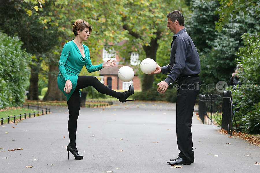 18/10/2010. Niall and Gillian Quinn launch prostate cancer awareness. Niall and Gillian are pictured in St Stephen's Green Dublin having a kick-around and shout the prostate cancer awareness message to show their support for this important healthcare campaign. What You Don't Know a Public Awareness Campaign by the Mater Private, which aims to educate on the symptoms and treatment of prostate cancer and promote early diagnosis of the disease. In Ireland, prostate cancer is the second most common cancer in men, after skin cancer, and 1 in 12 Irish men will be diagnosed with prostate cancer during their lifetime and 1 in 34 men will die from the disease. Picture James Horan/Collins Photos