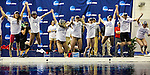 19 MAR 2016: Members of the Georgia swim team leap into the pool after winning the team championship during the Division I Women's Swimming & Diving Championship held at the Georgia Tech Aquatic Center in Atlanta, GA. Georgia finished with a team score of 414. David Welker/NCAA Photos