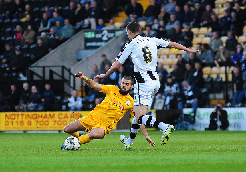 Preston North End's John Welsh vies for possession with Notts County's Haydn Hollis<br /> <br /> Photographer Chris Vaughan/CameraSport<br /> <br /> Football - The Football League Sky Bet League One - Notts County v Preston North End - Tuesday 21st April 2015 - Meadow Lane - Nottingham<br /> <br /> &copy; CameraSport - 43 Linden Ave. Countesthorpe. Leicester. England. LE8 5PG - Tel: +44 (0) 116 277 4147 - admin@camerasport.com - www.camerasport.com