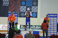 SPEED SKATING: SALT LAKE CITY: 21-11-2015, Utah Olympic Oval, ISU World Cup, Podium 1000m Men, Kjeld Nuis (NED), Pavel Kulizhnikov (RUS), Gerben Jorritsma (NED), ©foto Martin de Jong