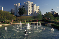 Baton Rouge, Louisiana, LA, Old State Capitol Building, a Gothic Revival Castle, with fountain in the foreground in the capital city of Baton Rouge.