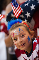 United States (USA) fan. The women's national team of the United States defeated the Korea Republic 5-0 during an international friendly at Red Bull Arena in Harrison, NJ, on June 20, 2013.