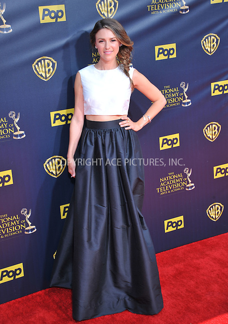 WWW.ACEPIXS.COM<br /> <br /> April 26 2015, LA<br /> <br /> Elizabeth Hendrickson arriving at The 42nd Annual Daytime Emmy Awards at Warner Bros. Studios on April 26, 2015 in Burbank, California.<br /> <br /> By Line: Peter West/ACE Pictures<br /> <br /> <br /> ACE Pictures, Inc.<br /> tel: 646 769 0430<br /> Email: info@acepixs.com<br /> www.acepixs.com