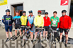 L-R Sean Moynihan, Sean Tangney, Padraig Lucy, Mike Power, Roger O'Donoghue, Mike Broderick, Seamus O'Grady and David Heasman at the Kerry GAA Cycle Challenge in the Fitzgerald Stadium, Killarney last Saturday morning.