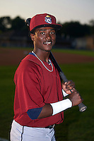 Mahoning Valley Scrappers outfielder Gabriel Mejia (7) poses for a photo before a game against the Auburn Doubledays on September 4, 2015 at Falcon Park in Auburn, New York.  Auburn defeated Mahoning Valley 5-1.  (Mike Janes/Four Seam Images)