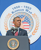 United States President Barack Obama delivers remarks marking the 60th Anniversary of the Korean War Armistice at the Korean War Veterans Memorial in Washington, D.C. on Saturday, July 27, 2013.<br /> Credit: Ron Sachs / Pool via CNP