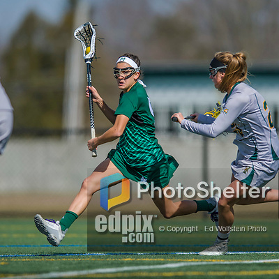 30 March 2016: Manhattan College Jasper Midfielder Megan Yarusso, a Senior from Brewster, NY, in action against the University of Vermont Catamounts at Virtue Field in Burlington, Vermont. The Lady Cats defeated the Jaspers 11-5 in non-conference play. Mandatory Credit: Ed Wolfstein Photo *** RAW (NEF) Image File Available ***