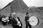 Eyam Plague Memorial Service, Eyam, Derbyshire England 1973 Procession.