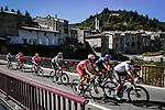 The breakaway featuring Nicolas Roche (IRL) Sunweb, , Jesus Herrada (ESP) Cofidis, Neilson Powless (USA) EF, Greg Van Avermaet (BEL) CCC, Alexey Lutsenko (KAZ) Astana, Rémi Cavagna (FRA) Deceuninck-Quick Step, Edvald Boasson Hagen (NOR) NTT and Daniel Oss (ITA) Bora-Hansgrohe during Stage 6 of Tour de France 2020, running 191km from Le Teil to Mont Aigoual, France. 3rd September 2020.<br /> Picture: ASO/Pauline Ballet | Cyclefile<br /> All photos usage must carry mandatory copyright credit (© Cyclefile | ASO/Pauline Ballet)