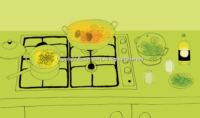 Preparing food on gas stove