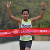 Anthony Diaz, 14, of Farmingdale wins the 5K race as part of Long Island Marathon Weekend at Eisenhower Park on Saturday, May 5, 2018. He crossed the finish line at the 17:51 mark.