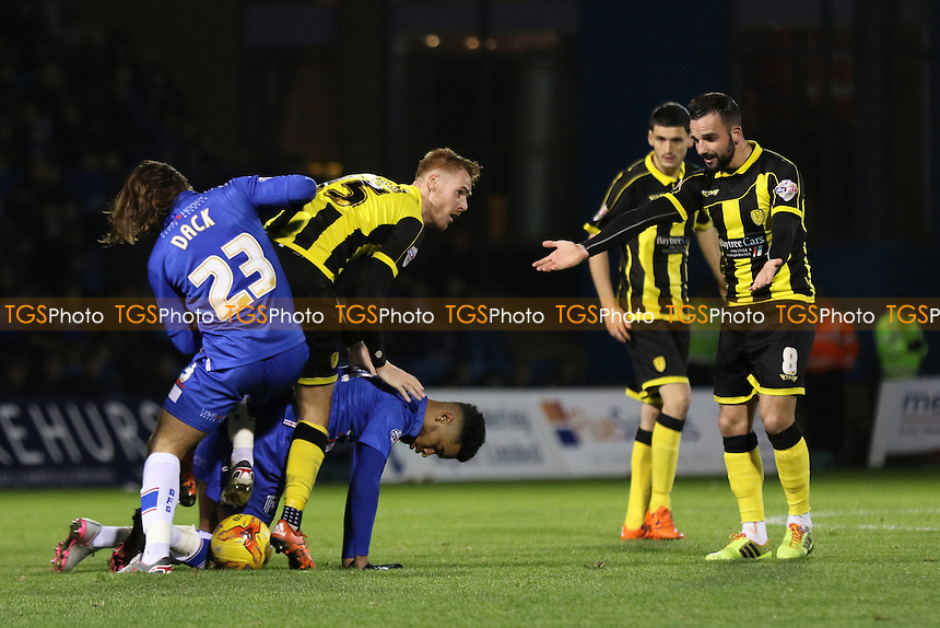 Bradley Dack of Gillingham tries to win possession of the ball during Gillingham vs Burton Albion, Sky Bet League 1 Football at the MEMS Priestfield Stadium, Gillingham, England on 12/12/2015