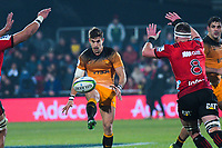 Jaguares' Joaquin Diaz Bonilla chips during the 2019 Super Rugby final between the Crusaders and Jaguares at Orangetheory Stadium in Christchurch, New Zealand on Saturday, 6 July 2019. Photo: Dave Lintott / lintottphoto.co.nz