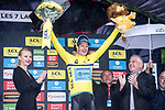 Jakob Fuglsang (DEN) Astana Pro Team takes over the race leaders Yellow Jersey at the end of Stage 7 of the Criterium du Dauphine 2019, running 133.5km from Saint-Genix-les-Villages to Les Sept Laux - Pipay, France. 15th June 2019.<br /> Picture: Mario Stiehl/Radsport | Cyclefile<br /> All photos usage must carry mandatory copyright credit (© Cyclefile | Mario Stiehl/Radsport)