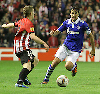 5.04.2012 Bilbao, Spain. Uefa Europa League. Picture show Raul Gonzalez (R) and Muniain(L) in action during match between Athletic Club against Shalke 04 at San Mames stadium