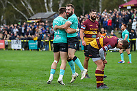 Ben Foley of Nottingham Rugby celebrates after he scores a try during the Greene King IPA Championship match between Ampthill RUFC and Nottingham Rugby on Ampthill Rugby's Championship Debut at Dillingham Park, Woburn St, Ampthill, Bedford MK45 2HX, United Kingdom on 12 October 2019. Photo by David Horn.