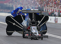 Jun 20, 2015; Bristol, TN, USA; NHRA top fuel driver Cory McClenathan during qualifying for the Thunder Valley Nationals at Bristol Dragway. Mandatory Credit: Mark J. Rebilas-