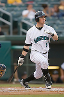 Scott Cousins (33) of the Jupiter Hammerheads follows through on his swing at Roger Dean Stadium in Jupiter, FL, Wednesday July 16, 2008. (Photo by Brian Westerholt / Four Seam Images)