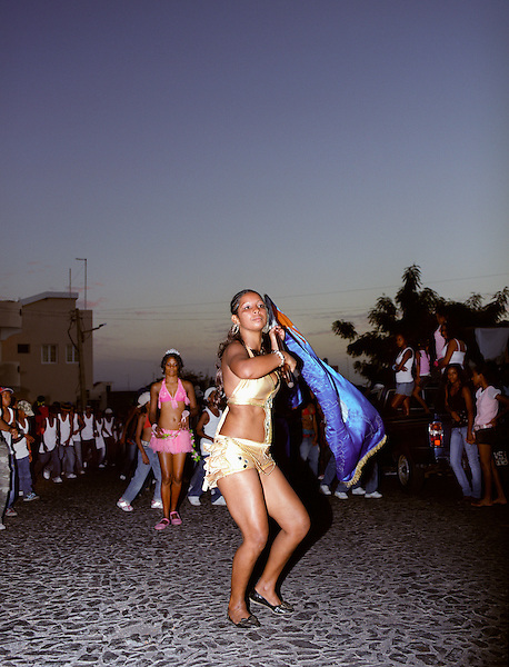 Young people rehearse in the streets of Patam for the upcoming Carnival celebrations. Fogo, Cape Verde Islands, Africa.