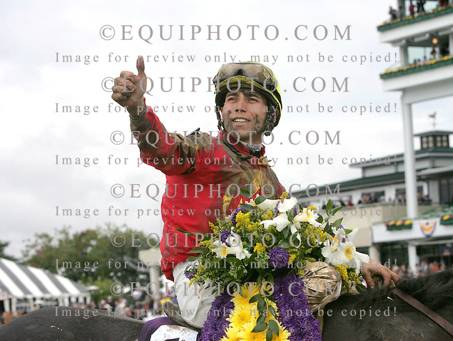 Midnight Lute #2 with Garrett Gomez in the irons won The $2,000,000 TVG Breeders' Cup Sprint Grade I  at Monmouth Park in Oceanport, N.J. on October 27, 2007.   Photo By EQUI-PHOTO.