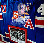 Former Green Bay Bobcats hockey player Jack Poole, 68, is reflectedin his 1962 U.S. Nationals team jersey from the World/European Championship.  .