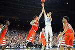 02 APR 2016: Forward Justin Jackson (44) of the University of North Carolina shoots over Center Dajuan Coleman (32) of Syracuse University during the 2016 NCAA Men's Division I Basketball Final Four Semifinal game held at NRG Stadium in Houston, TX. North Carolina defeated Syracuse 83-66 to advance to the championship game.  Brett Wilhelm/NCAA Photos