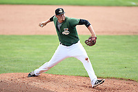 Clinton LumberKings pitcher Aaron Brooks (50) delivers a pitch during a game against the Beloit Snappers on August 17, 2014 at Ashford University Field in Clinton, Iowa.  Clinton defeated Beloit 4-3.  (Mike Janes/Four Seam Images)