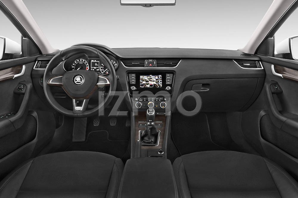 Stock photo of straight dashboard view of a 2015 Skoda Octavia Scout 5 Door Wagon Dashboard