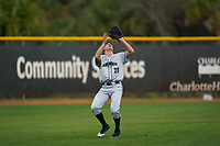 Dartmouth Big Green outfielder Kolton Freeman (28) catches a fly ball during a game against the Indiana State Sycamores on February 21, 2020 at North Charlotte Regional Park in Port Charlotte, Florida.  Indiana State defeated Dartmouth 1-0.  (Mike Janes/Four Seam Images)