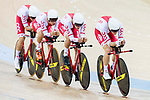 The team of Poland with Alan Banaszek, Szymon Sajnok, Daniel Staniszewski and Adrian Teklinski compete in the Men's Team Pursuit - Qualifying match as part of the Men's Team Pursuit - Qualifying match as part of the 2017 UCI Track Cycling World Championships on 12 April 2017, in Hong Kong Velodrome, Hong Kong, China. Photo by Victor Fraile / Power Sport Images
