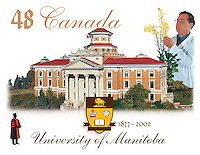 PRODUCT: Stamp<br /> TITLE: Univeristy of Manitoba 125th <br /> CLIENT: Canada Post