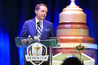 TV Commentator Jimmy Roberts speaks on stage at the Closing Ceremony after Sunday's Singles Matches of the 39th Ryder Cup at Medinah Country Club, Chicago, Illinois 30th September 2012 (Photo Colum Watts/www.golffile.ie)