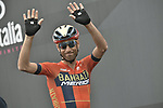 Vincenzo Nibali (ITA) Bahrain-Merida at sign on before Stage 15 of the 2019 Giro d'Italia, running 232km from Ivrea to Como, Italy. 26th May 2019<br /> Picture: Fabio Ferrari/LaPresse | Cyclefile<br /> <br /> All photos usage must carry mandatory copyright credit (© Cyclefile | Fabio Ferrari/LaPresse)