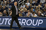 San Diego State head coach Brian Dutcher walks the sidelines against Nevada during the second half of a basketball game played at Lawlor Events Center in Reno, Nev., Saturday, Feb. 29, 2020. (AP Photo/Tom R. Smedes)
