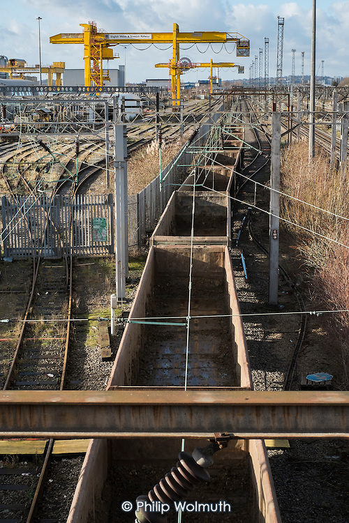 Empty goods train passing through Old Oak Common, north west London, considered by many to be a better site for the HS2 high speed rail terminal than Euston.