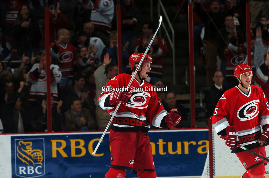 Carolina Hurricanes' Eric Staal celebrates a goal against the New York Rangers Thursday, Nov. 17, 2005 in Raleigh, NC. Carolina won 5-1.