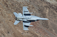 A VX-9 Vampire F/A-18F Super Hornet out of China Lake in low level flight through Star Wars Canyon.