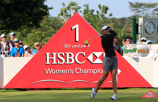 Suzann Pettersen (NOR) on the 1st tee during Round 3 of the HSBC Women's Champions at the Sentosa Golf Club, The Serapong Course in Singapore on Saturday 7th March 2015.<br /> Picture:  Thos Caffrey / www.golffile.ie