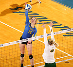 BROOKINGS, SD - OCTOBER 28: Sydney Andrews #15 from South Dakota State looks to get a kill past Alex Erickson #6 from North Dakota State during their match Sunday afternoon at Frost Arena in Brookings. (Photo by Dave Eggen/Inertia)