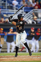 West Virginia Black Bears center fielder Sandy Santos (27) at bat during a game against the Batavia Muckdogs on June 29, 2016 at Dwyer Stadium in Batavia, New York.  West Virginia defeated Batavia 9-4.  (Mike Janes/Four Seam Images)