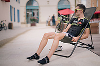 Adam Yates (IRL/Mitchelton Scott) relaxing <br /> <br /> D-1: last preperations 1 day before the start of the race<br /> <br /> Team Mitchelton-Scott going for a coffee-ride<br /> <br /> Le Grand D&eacute;part 2018<br /> 105th Tour de France 2018<br /> &copy;kramon
