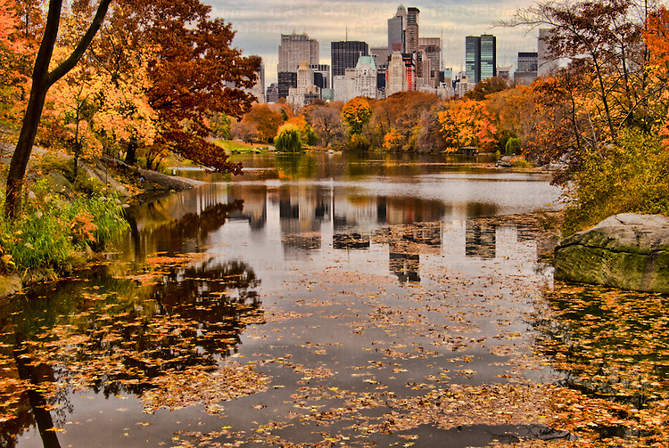 HDR image of Central Park with Central Park South in the Fall, Manhattan, New York City.