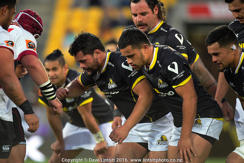 A scrum packs down during the Mitre 10 Cup rugby union match between Wellington Lions and North Harbour at Westpac Stadium, Wellington, New Zealand on Saturday, 3 September 2016. Photo: Dave Lintott / lintottphoto.co.nz