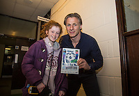 Wycombe Wanderers Manager Gareth Ainsworth poses with a supporter who designed a previous programme cover during the Sky Bet League 2 match between Wycombe Wanderers and Barnet at Adams Park, High Wycombe, England on 16 April 2016. Photo by Andy Rowland.