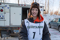 Kevin Harper portrait at the start of the 2016 Junior Iditarod Sled Dog Race on Willow Lake  in Willow, AK February 27, 2016
