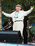 NEW ORLEANS, LA - MAY 06: Jazz & Heritage Festival founder George Wein performs with Preservation Hall Jazz Band during the 2012 New Orleans Jazz & Heritage Festival at the Fair Grounds Race Course on May 6, 2012 in New Orleans, Louisiana.